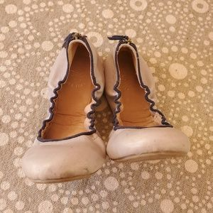 Gap crystal blue dusk Leather scrunch ballet flats